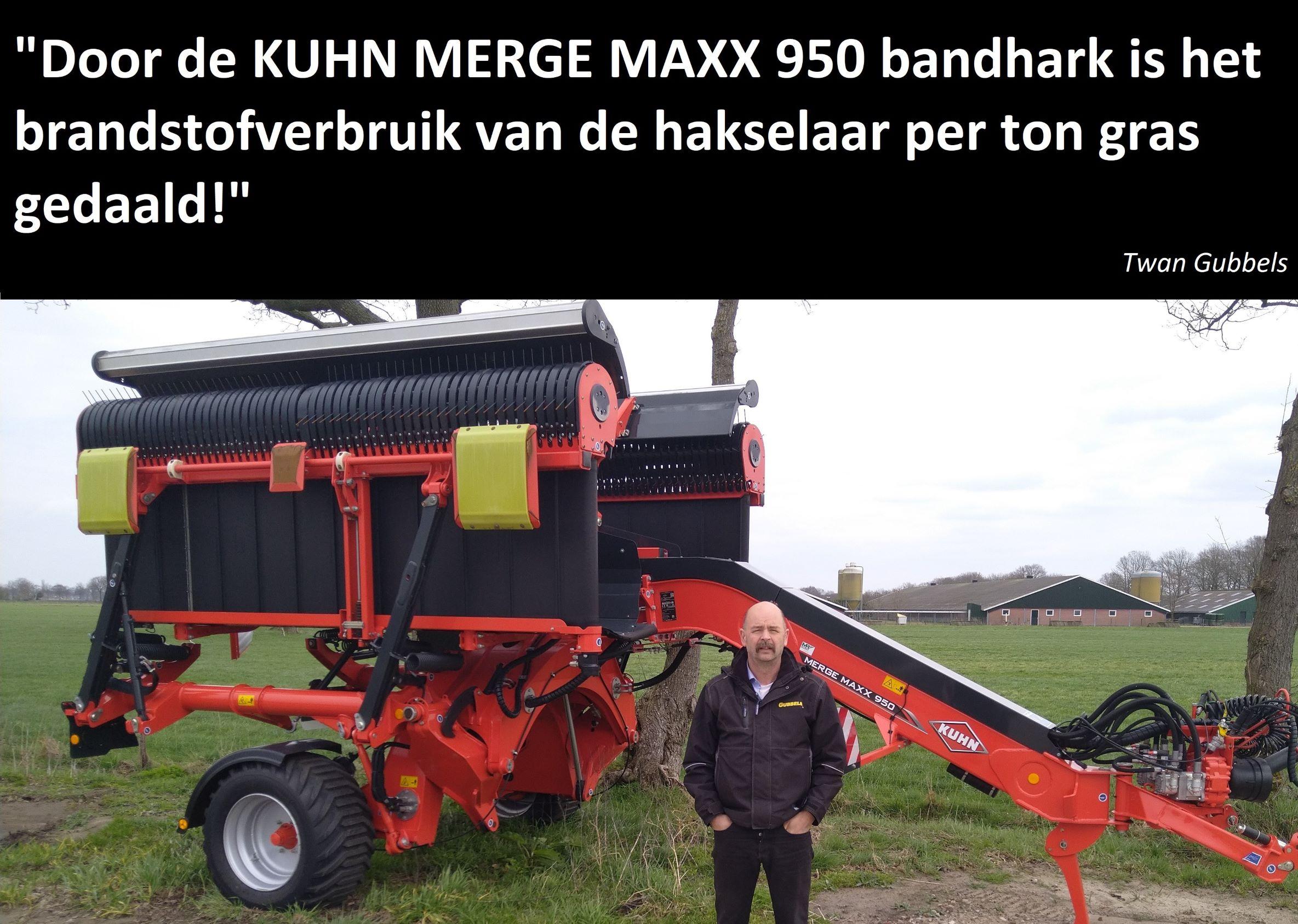 Twan Gubbels naast zijn Kuhn Merge Maxx 950